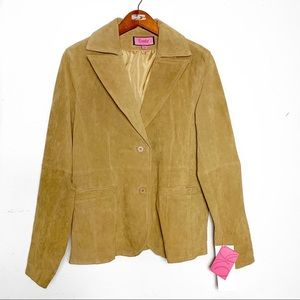 NWT Suede Tan Leather Jacket. Size Lrg